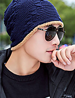 cheap -Men's Sweater Floppy Hat,Work Casual Solid Color Winter Stylish Navy Blue Black