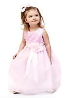 cheap -Girl's Birthday Daily Solid Flower/Floral Dress,Cotton Summer Sleeveless Cute Princess Blushing Pink