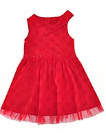 cheap -Girl's Daily Dot Dress,Cotton Summer Sleeveless Casual Active Red