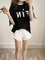 economico -T-shirt Da donna Quotidiano Casual Primavera Estate,Con stampe Rotonda Cotone Maniche corte Medio spessore