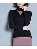economico -T-shirt Da donna Quotidiano Vintage Inverno Autunno,Tinta unita A collo alto Cotone Maniche lunghe Opaco