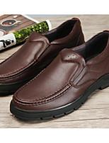 abordables -Hombre Zapatos Cuero Primavera Otoño Confort Zapatos de taco bajo y Slip-On para Casual Negro Café