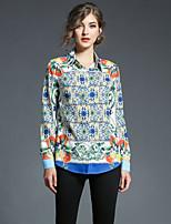 cheap -SHE IN SUN Women's Daily Going out Casual Fall ShirtGeometric Shirt Collar Long Sleeve Polyester Opaque