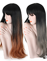 cheap -Women Synthetic Wig Long Wavy Grey Black/Brown Ombre Hair Dark Roots With Bangs Lolita Wig Party Wig Celebrity Wig Halloween Wig Cosplay