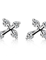 cheap -Women's Stud Earrings Cubic Zirconia Simple Classic Silver Zircon Cross Jewelry Wedding Holiday