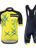cheap -Cycling Jersey with Bib Shorts Unisex Short Sleeves Bike Clothing Suits Bike Wear Quick Dry Geometric Cycling / Bike Black/Yellow
