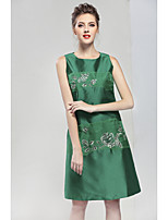 cheap -PROVERB Women's Party Going out Simple A Line Dress,Floral Round Neck Above Knee Sleeveless Silk Polyester Winter Fall Mid Rise Inelastic Opaque