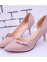 cheap -Women's Shoes PU Spring Fall Basic Pump Comfort Heels Stiletto Heel for Casual Pink Beige Black