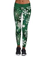 preiswerte -Damen Stilvoll Mittel Polyester Elasthan Druck Bedruckt Legging,Grün
