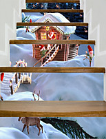 preiswerte -Archtektur Weihnachten Wand-Sticker Geh?use Flugzeug-Wand Sticker 3D Wand Sticker Dekorative Wand Sticker Hochzeits Sticker,Vinyl Papier