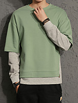 cheap -Men's Casual/Daily Sweatshirt Color Block Round Neck Micro-elastic Cotton Long Sleeve Fall