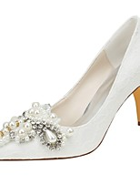 cheap -Women's Shoes Stretch Satin Spring Fall Basic Pump Wedding Shoes Stiletto Heel Pointed Toe Crystal Pearl for Party & Evening Dress Ivory