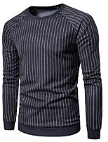 cheap -Men's Casual/Daily Sweatshirt Striped Round Neck Micro-elastic Cotton Long Sleeve Winter Spring/Fall