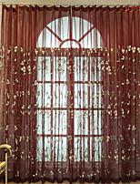 economico -A scorrimento Ad anello Con passanti in stoffa A piega doppia A piega singola Trattamento finestra Paese , Ricami Fantasia floreale