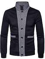 cheap -Men's Daily Casual Regular Cardigan,Color Block Stand Long Sleeves Polyester Spandex Winter Fall Thick Micro-elastic