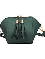 cheap -Women Bags PU Polyester Shoulder Bag Zipper Tassel for Casual All Season Green Black Silver Blushing Pink