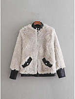 cheap -Women's Daily Street chic Winter Fall Fur Coat,Solid Stand Long Sleeve Regular Faux Fur PU