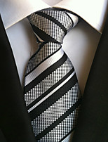 cheap -Men's Polyester Necktie,Work Casual Striped All Seasons Gray