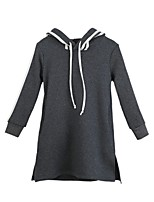 Girl's Casual/Daily Solid Dress,Polyester Winter Fall Long Sleeves Simple Gray