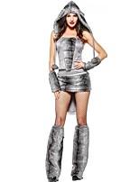 abordables -Lobo Una Sola Pieza Vestidos Disfrace de Cosplay Mujer Halloween Carnaval Año Nuevo Festival / Celebración Disfraces de Halloween Gris