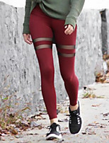 cheap -Women's Stylish Polyester Medium Stitching Legging,Solid Red Black