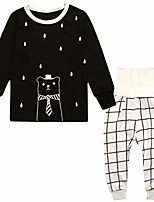 Недорогие -Девочки Пижамы Полиэстер Мультипликация Длинный рукав Мультяшная тематика Белый Черный