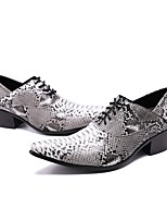 cheap -Men's Shoes Real Leather Spring Fall Formal Shoes Novelty Oxfords Buckle for Wedding Party & Evening Gray
