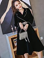 economico -Impermeabile Da donna Per uscire Moda città Autunno,Tinta unita Colletto Cotone Poliestere Lungo Maniche lunghe Oversized