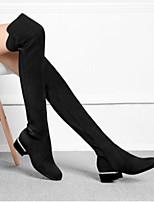 Недорогие -Для женщин Обувь Натуральная кожа Зима Модная обувь Ботинки На низком каблуке Круглый носок Бедро высокие сапоги для Повседневные Черный