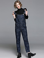 EWUS Women's Going out Casual/Daily Street chic Spring Sweater Pant Suits,Solid Galaxy Stand Long Sleeve Knitting Denim Polyester Stretchy