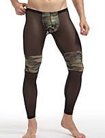 Men's Inelastic Solid Undershirt Sheer,Polyester 1pc Black