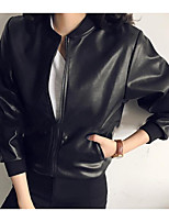 cheap -Women's Going out Street chic Winter Fall Leather Jacket,Solid Round Neck Long Sleeve Regular Polyester