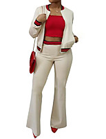 cheap -Women's Daily Work Casual Sexy Fall Hoodie Pant Suits,Solid Round Neck Long Sleeve Polyester Inelastic