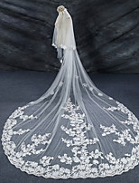 cheap -Two-tier Lace Applique Edge Bridal Wedding Wedding Veil Cathedral Veils 53 Laces Lace Tulle