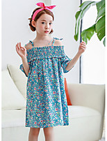 Girl's Holiday Casual/Daily Floral Dress,Cotton Summer Half Sleeves Boho Blue