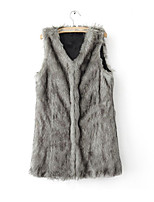 cheap -Women's Daily Vintage Winter Vest,Solid V Neck Sleeveless Short Fox Fur