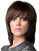 Donna Parrucche sintetiche Medio Dritto Dark Brown / Media Auburn Taglio scalato Parrucca naturale Parrucca di celebrità Parrucca per