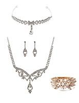 preiswerte -Damen Braut-Schmuck-Sets Forehead Crown Strass Europäisch Modisch Hochzeit Party Perle Diamantimitate Aleación Körperschmuck 1 Halskette