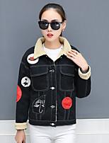 cheap -Women's Casual/Daily Street chic Winter Fall Denim Jacket,Print Shirt Collar Long Sleeve Regular Cotton