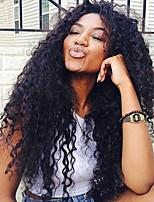 Недорогие -жен. Парики из натуральных волос на кружевной основе Бразильские волосы Натуральные волосы Лента спереди 130% плотность С пушком Кудрявый