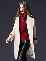 Недорогие -Для женщин На каждый день Офис Зима Пальто Рубашечный воротник,Простой Активный Контрастных цветов Длинная Длинные рукава,Шерсть Полиэстер