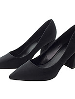 Women's Shoes Fabric Spring Fall Basic Pump Heels Chunky Heel Pointed Toe for Casual Office & Career Pink Black
