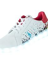 preiswerte -Damen Schuhe PU Winter Leuchtende LED-Schuhe Sneakers Flacher Absatz Runde Zehe für Normal Schwarz Rot