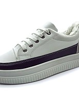 cheap -Women's Shoes PU Winter Fall Comfort Sneakers Flat Heel Round Toe for Casual Black White