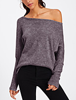 cheap -Women's Daily Going out Street chic Punk & Gothic All Seasons T-shirt,Solid Boat Neck Long Sleeve Cotton Acrylic Medium