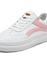cheap -Women's Shoes PU Spring Fall Comfort Sneakers Flat Heel Round Toe for Casual Pink Red Black