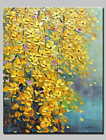 cheap -Hand-Painted Floral/Botanical Vertical,Modern Canvas Oil Painting For Home Decoration One Panel