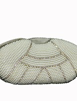 cheap -Women Bags Polyester Silk Evening Bag Pearl Detailing for Wedding Event/Party All Season Beige White