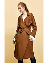 cheap -Women's Daily Casual Fall Trench Coat,Solid Shirt Collar Long Sleeve Long Cotton Oversized