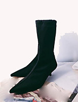 cheap -Women's Shoes Fabric Fall Fashion Boots Boots Kitten Heel Pointed Toe Mid-Calf Boots for Casual Black